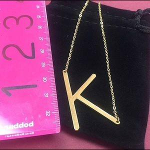 """ZokyDoky Jewelry - 1 1/2"""" Medium Size Sideways Initial Necklace,NWT"""